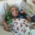 Jayden staying strong during a treatment.