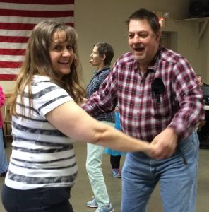 DSP Phoebe Gray dancing with Buddy.