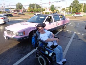 Crystal with a pink Cadillac