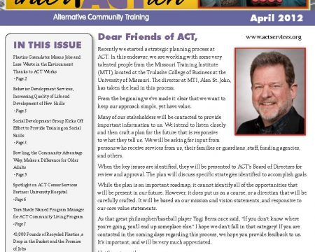 Image of the first page of the April 2012 ACT Newsletter