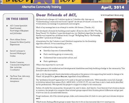 Image of the first page of the April 2014 ACT Newsletter