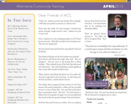 Image of the first page of the April 2015 ACT Newsletter