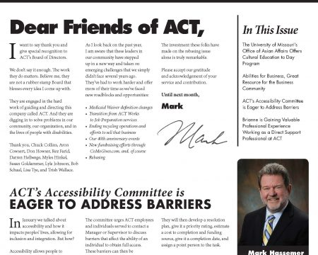 Image of the first page of the April 2016 ACT Newsletter