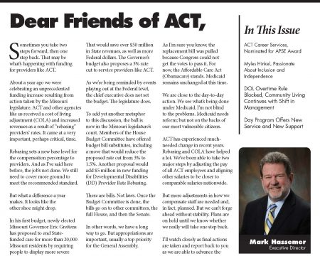 Image of the first page of the April 2017 ACT Newsletter