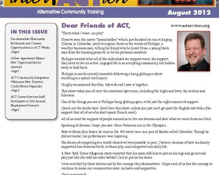 Image of the first page of the August 2012 ACT Newsletter