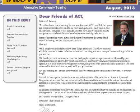 Image of the first page of the August 2013 ACT Newsletter