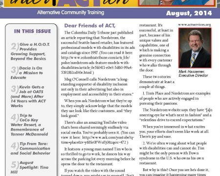 Image of the first page of the August 2014 ACT Newsletter