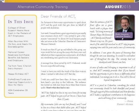 Image of the first page of the August 2015 ACT Newsletter