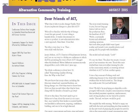 Image of the first page of the August 2016 ACT Newsletter