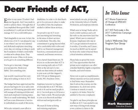 Image of the first page of the August 2017 ACT Newsletter