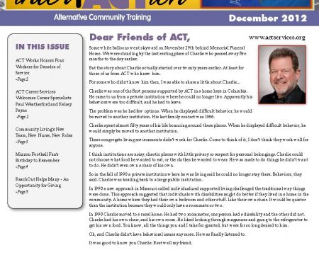 Image of the first page of the December 2012 ACT Newsletter