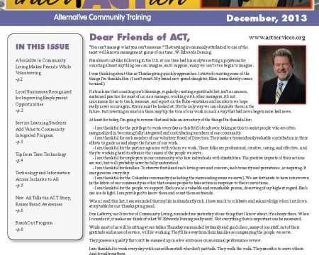Image of the first page of the December 2013 ACT Newsletter
