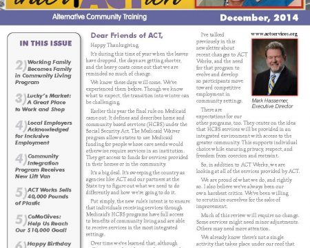 Image of the first page of the December 2014 ACT Newsletter