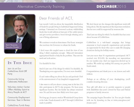 Image of the first page of the December 2015 ACT Newsletter