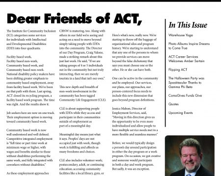 Image of the first page of the December 2016 ACT Newsletter
