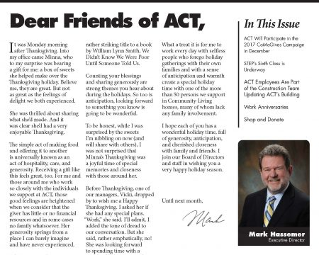 Image of the first page of the December 2017 ACT Newsletter