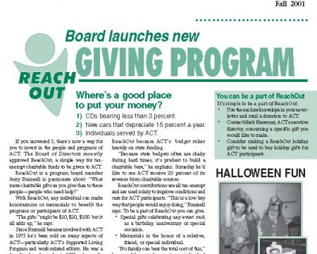 Image of the first page of the Fall 2001 ACT Newsletter