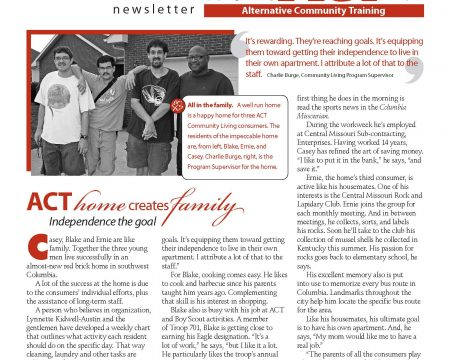 Image of the first page of the Fall 2011 ACT Newsletter
