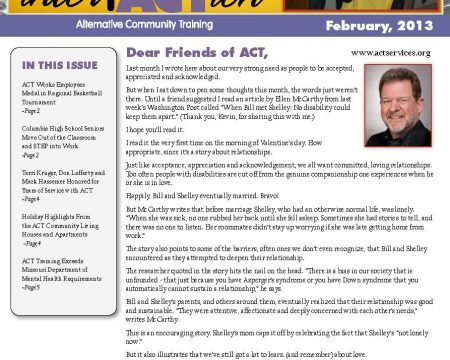 Image of the first page of the February 2013 ACT Newsletter