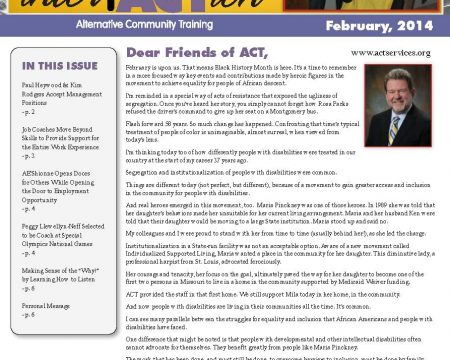 Image of the first page of the February 2014 ACT Newsletter