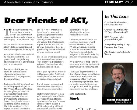 Image of the first page of the February 2017 ACT Newsletter
