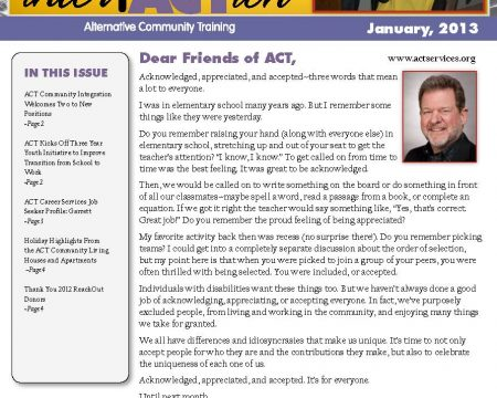 Image of the first page of the January 2013 ACT Newsletter