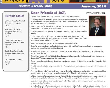 Image of the first page of the January 2014 ACT Newsletter