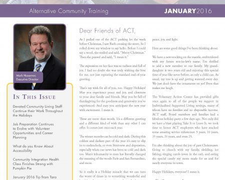 Image of the first page of the January 2016 ACT Newsletter