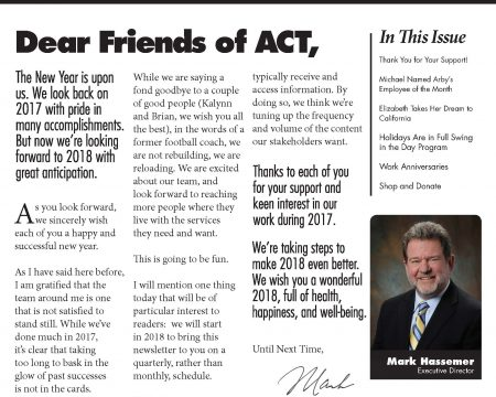 Image of the first page of the January 2018 ACT Newsletter