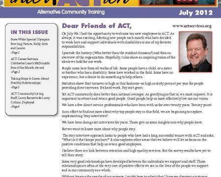 Image of the first page of the July 2012 ACT Newsletter
