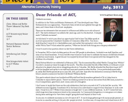 Image of the first page of the July 2013 ACT Newsletter