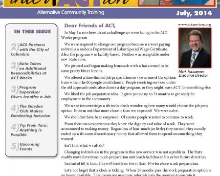 Image of the first page of the July 2014 ACT Newsletter