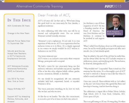 Image of the first page of the July 2015 ACT Newsletter