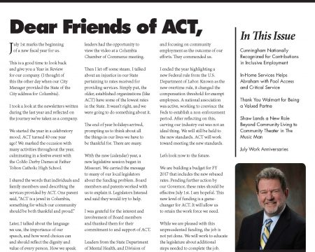 Image of the first page of the July 2016 ACT Newsletter