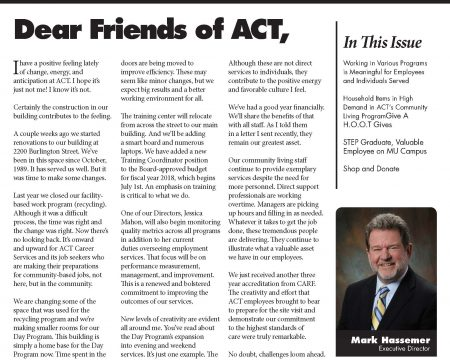 Image of the first page of the July 2017 ACT Newsletter