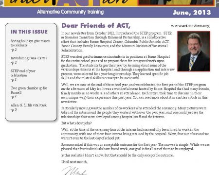 Image of the first page of the June 2013 ACT Newsletter