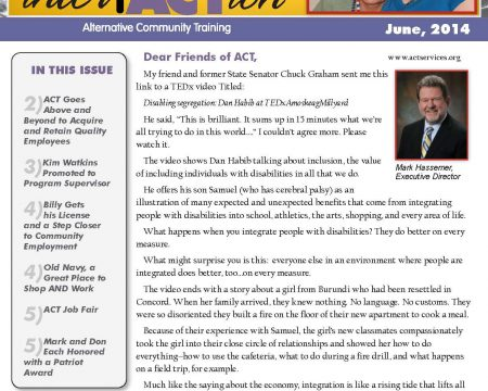 Image of the first page of the June 2014 ACT Newsletter
