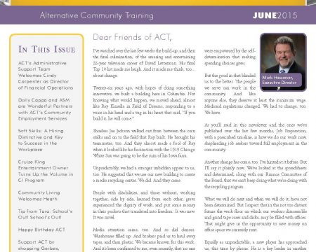Image of the first page of the June 2015 ACT Newsletter