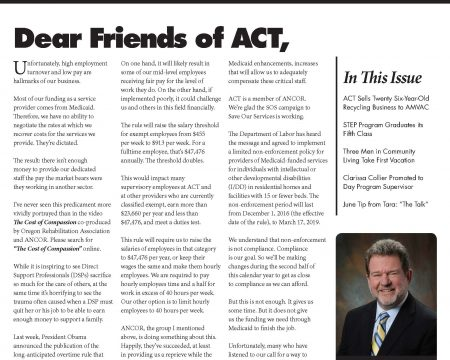 Image of the first page of the June 2016 ACT Newsletter