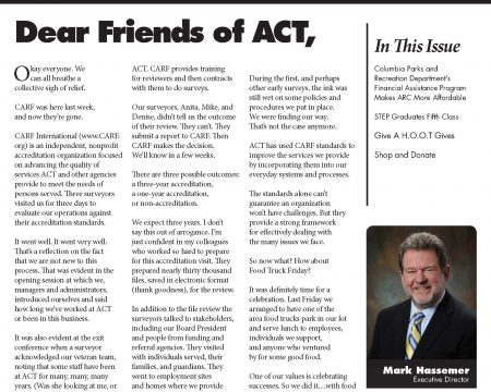 Image of the first page of the June 2017 ACT Newsletter