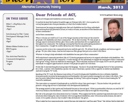 Image of the first page of the March 2013 ACT Newsletter