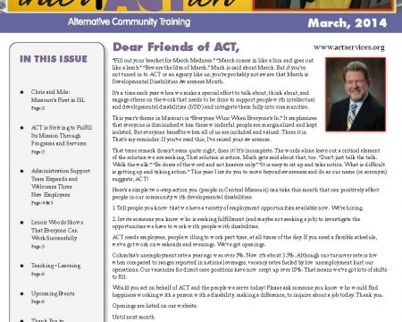 Image of the first page of the March 2014 ACT Newsletter