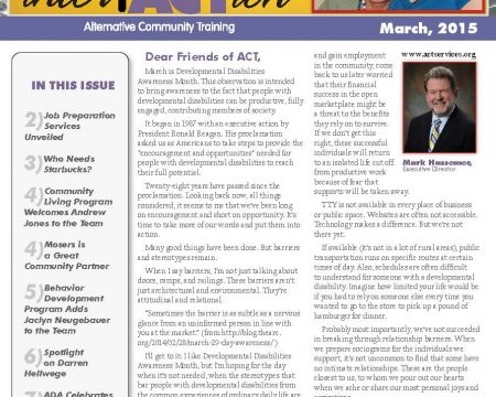 Image of the first page of the March 2015 ACT Newsletter