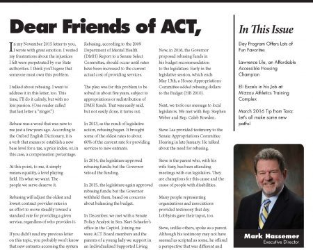 Image of the first page of the March 2016 ACT Newsletter