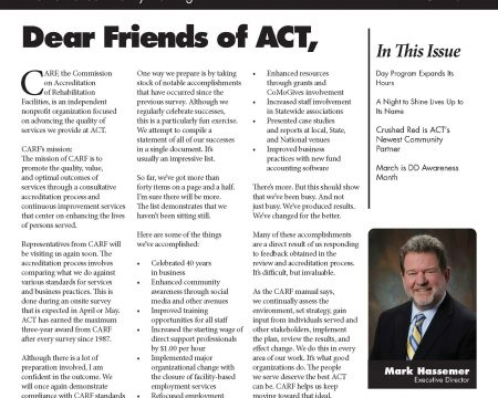 Image of the first page of the March 2017 ACT Newsletter