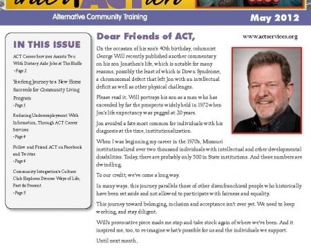 Image of the first page of the May 2012 ACT Newsletter