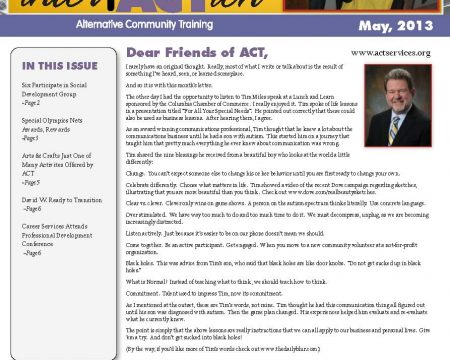 Image of the first page of the May 2013 ACT Newsletter