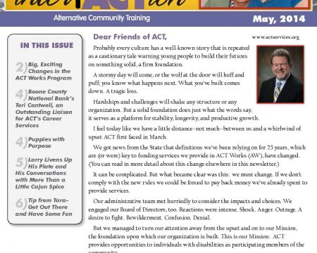 Image of the first page of the May 2014 ACT Newsletter