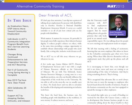Image of the first page of the May 2015 ACT Newsletter