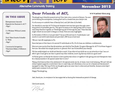 Image of the first page of the November 2012 ACT Newsletter